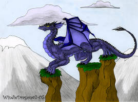 Dragon in Mountains -color- by WindieDragon
