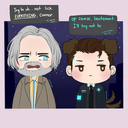 Detroit: Become human - Doggo Connor and Hank by SmilingSatellite