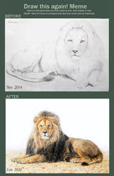 Draw it again meme with lions