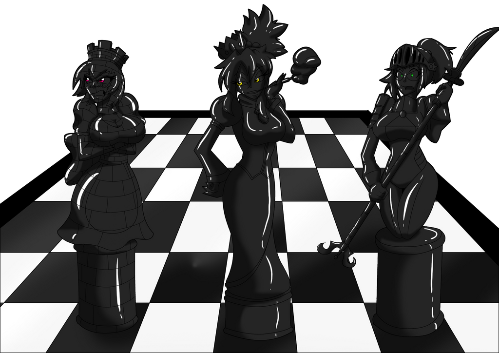 Chess Board Girls Black by LuckyBucket46