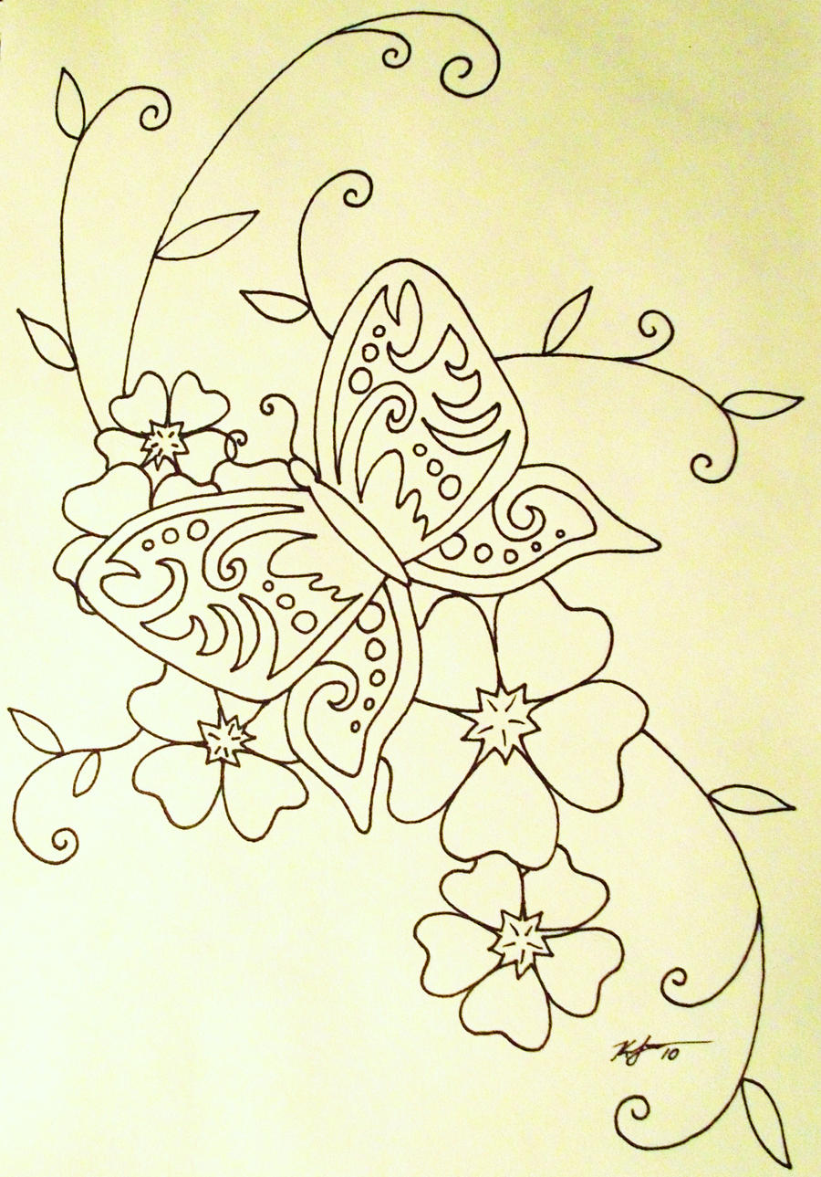 simple butterfly and blossoms by zurakaruzeksl on deviantart