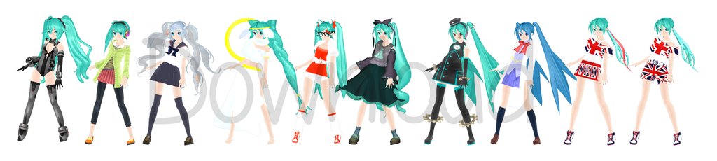 [325 Watchers Gift] DT Hatsune Miku Pack by megpoid625
