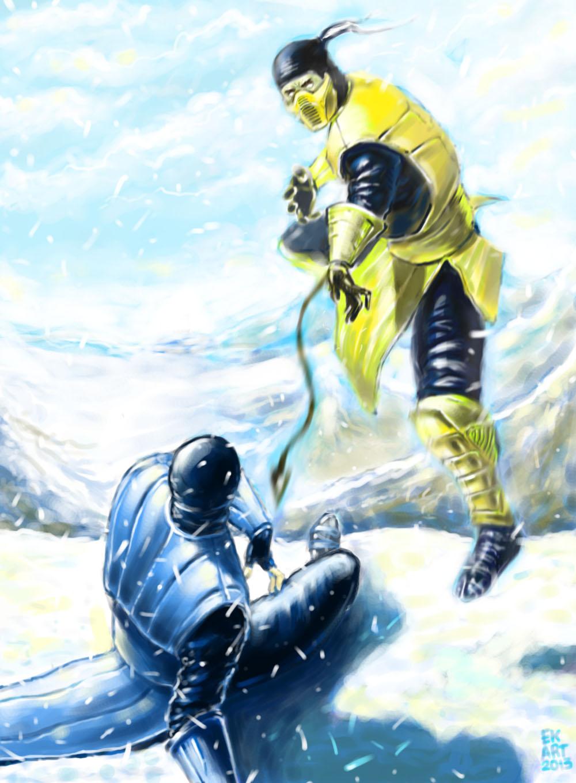 scorpion vs sub zero by taylorweaved fan art digital art painting ...