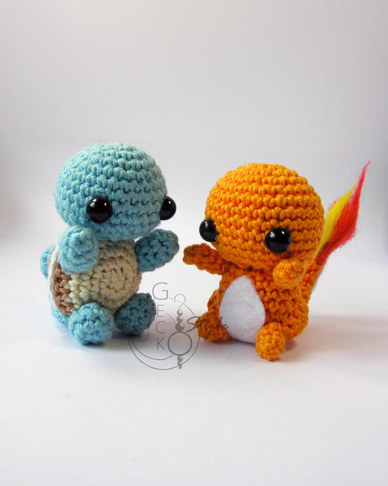 Amigurumi Chibi Doll Pattern Free : Chibi squirtle and chamander amigurumi by lefay on