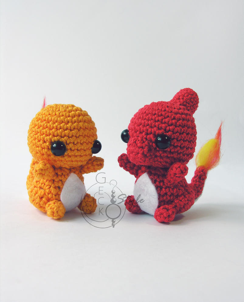Chibi Charmander and Charmeleon Amigurumi by LeFay00