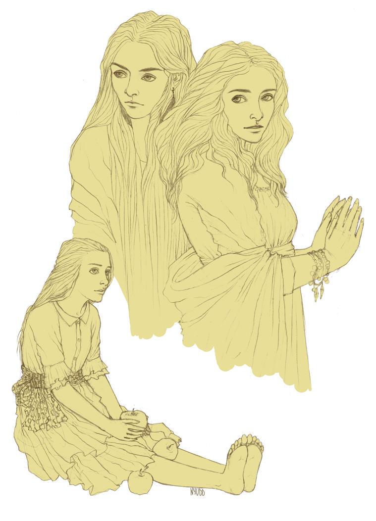 Sketch with girls by Nyudd