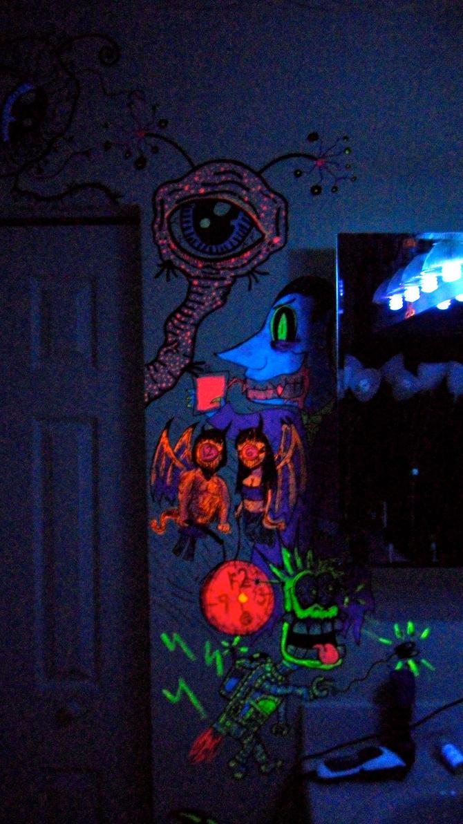 blacklight bathroom monsters by mattrosenart on deviantart. Black Bedroom Furniture Sets. Home Design Ideas