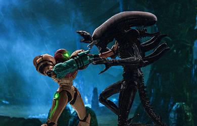 Metroid vs Alien (Samus Aran vs Xenomorph) by Varia31