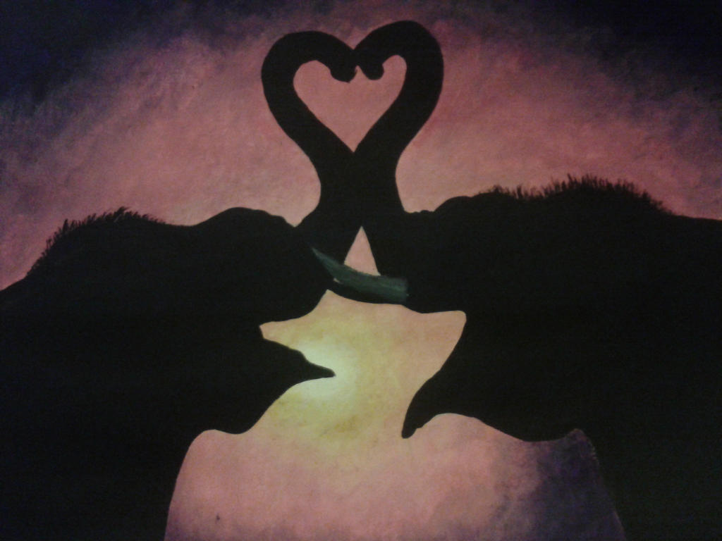 Elephant Love Art Elephant Love Sunset by