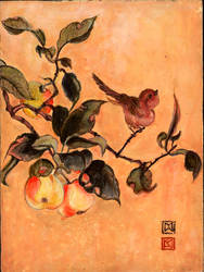 Peaches and Birds by MaroAn