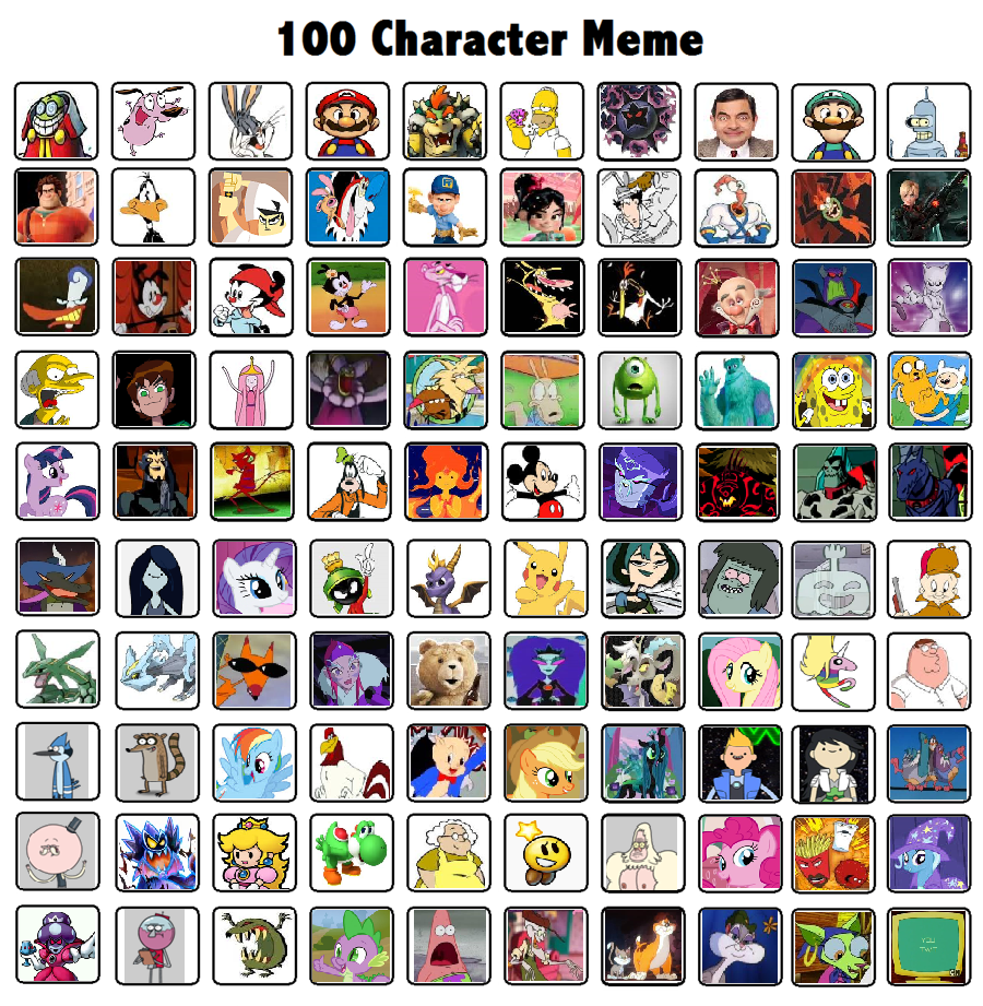 Cartoon Characters 2 100 Pics : Characters meme by thedarkbrawler on deviantart