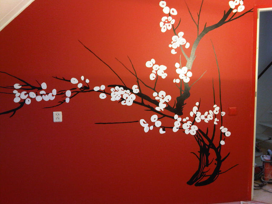 Cherry blossom wall painting by maxine alida on deviantart for Cherry blossom mural on walls