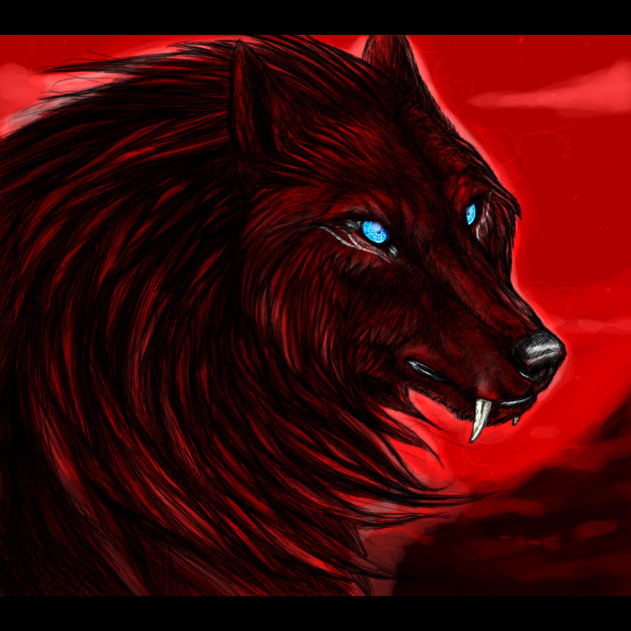 Black wolf with red eyes