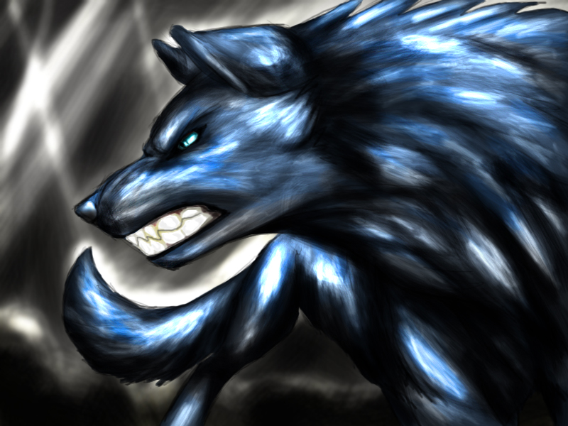 Shiny Blue angry wolf by Angry Black Wolf Drawing