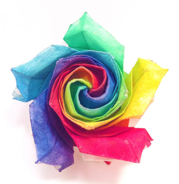 Origami rainbow rose v1 by refold on deviantart for Where can i buy rainbow roses