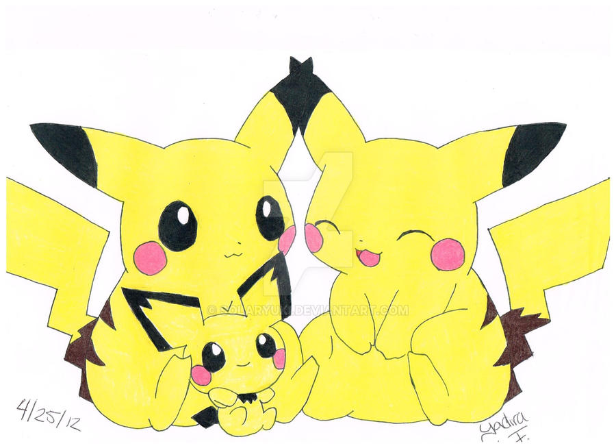 Pikachu Family by solaryuki