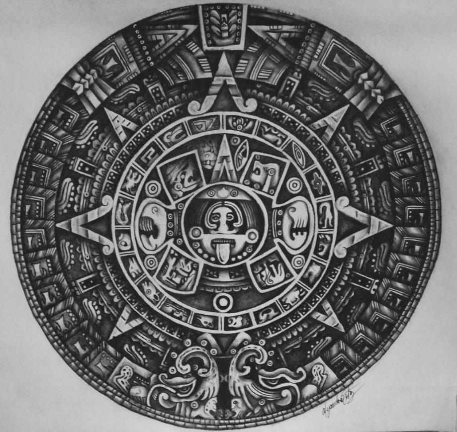 Aztec Calendar Drawing : Piedra del sol aztec calendar stone by alejandraortiz