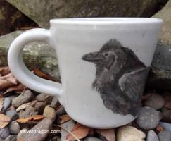 Floofy Raven Mug by tser