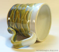 Frosty Green and Brown Wavy Mug