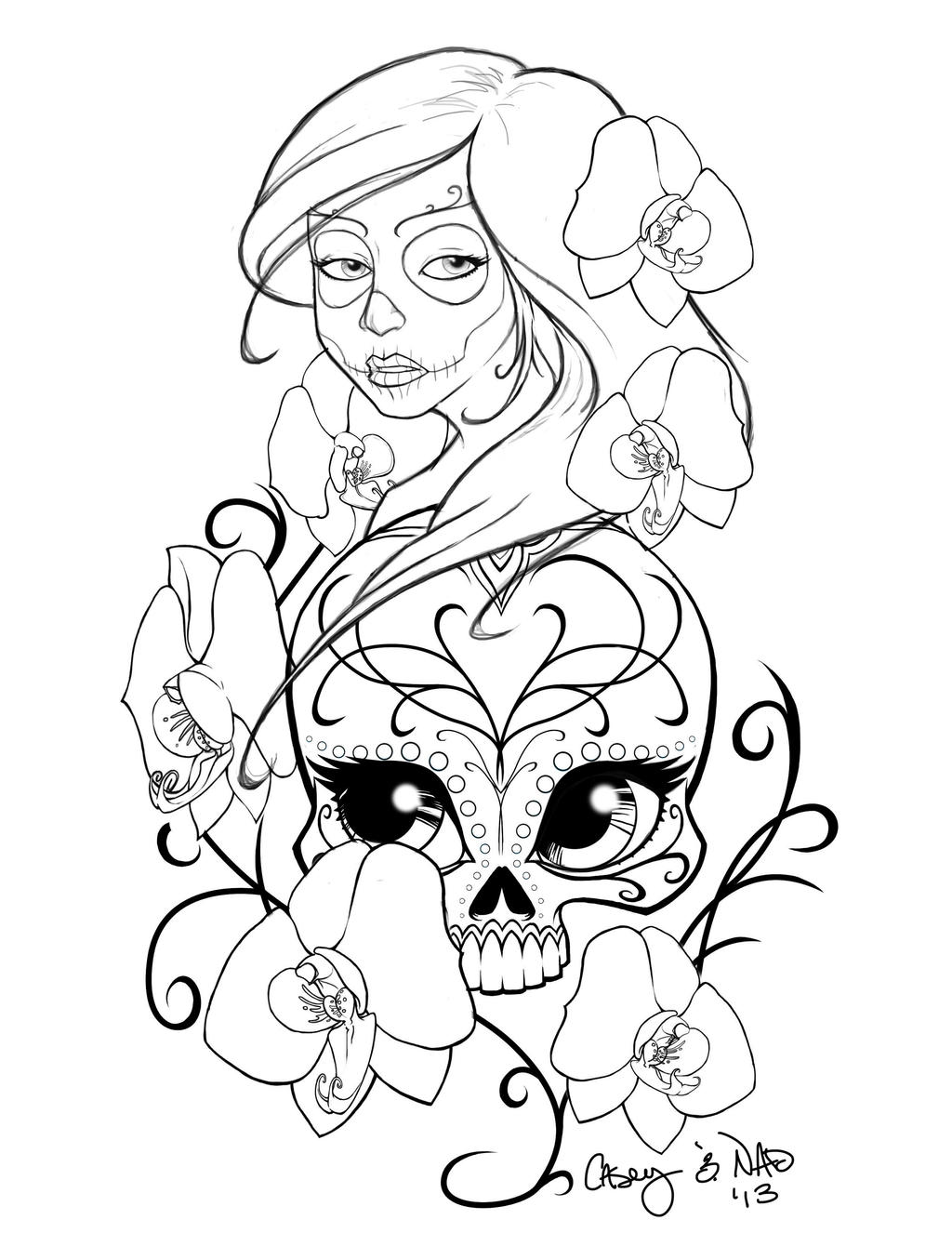 Sugar Skull Sleeve Tattoo Design by kcspaghetti
