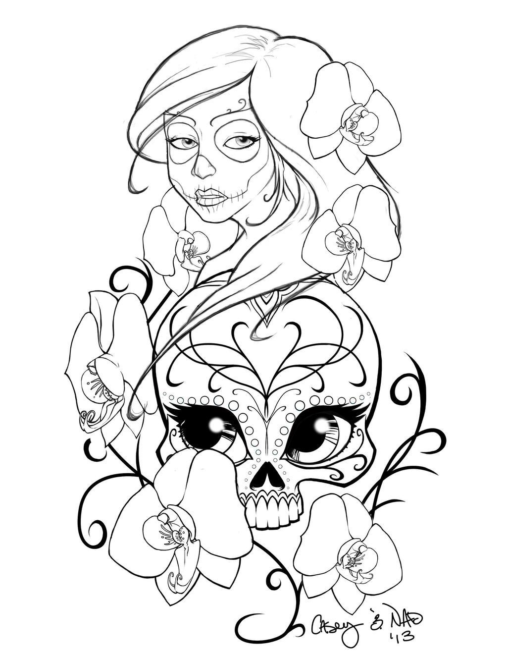 Sugar skull sleeve tattoo design by kcspaghetti on deviantart