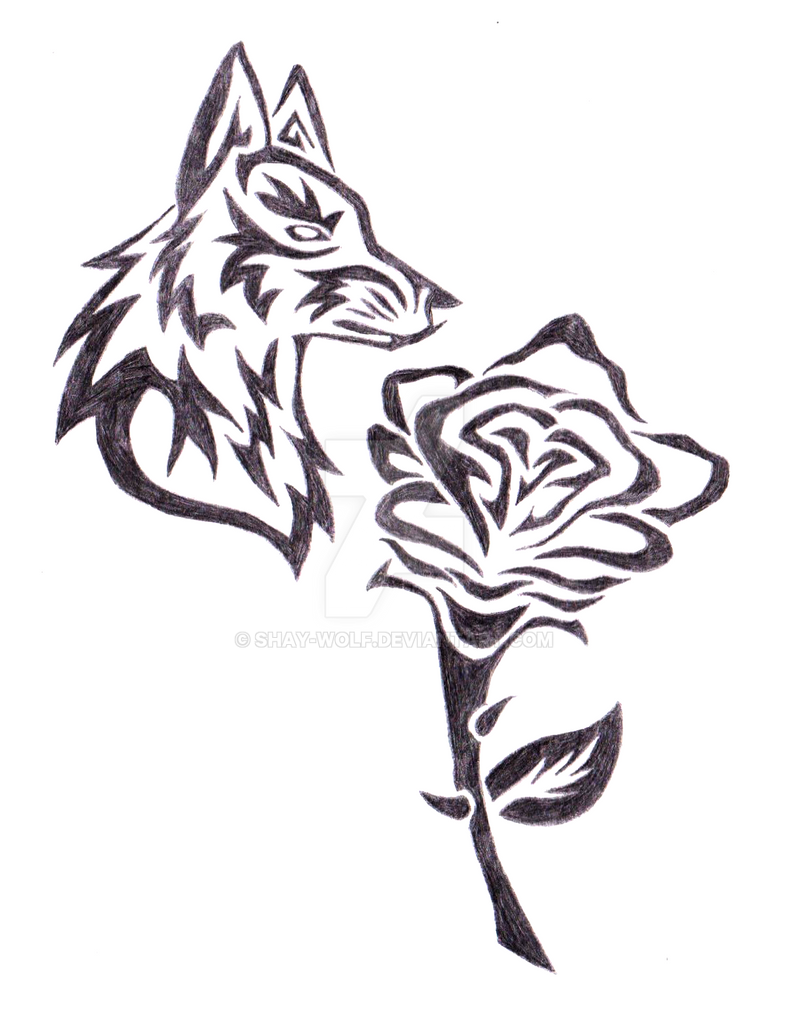 c890636b Tribal Wolf w/ Rose by Shay-Wolf on DeviantArt
