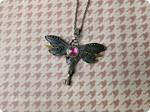 Steampunk dragonfly pendant with Swarowski crystal