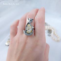 Pearl the Cat - pewter steampunk ring by IkushIkush