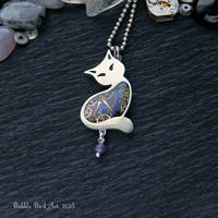 Dark blue cat - steampunk pendant with amethyst by IkushIkush