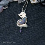 Dark blue cat - steampunk pendant with amethyst