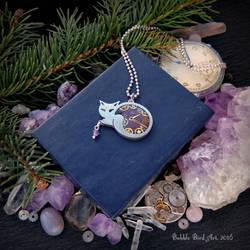 Violet kitty - handmade steampunk pendant by IkushIkush