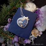 Kitty in love - handmade steampunk pendant
