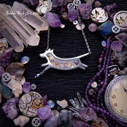 Christina the Dog - steampunk pewter pendant by IkushIkush