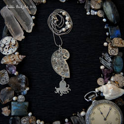 Pearl Mermaid Necklace - Doublesided pendant by IkushIkush