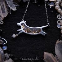 Handmade steampunk dog necklace with pearl bead by IkushIkush