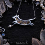 Handmade steampunk dog necklace with pearl bead
