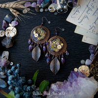 Steampunk/boho amethyst earrings by IkushIkush