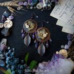 Steampunk/boho amethyst earrings