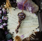 Tentacle key pendant with Amethyst crystals