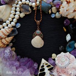 Electroformed mermaid necklace with real sea shell by IkushIkush