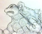 TMNT 2007 movie concept Raphael in action sketch
