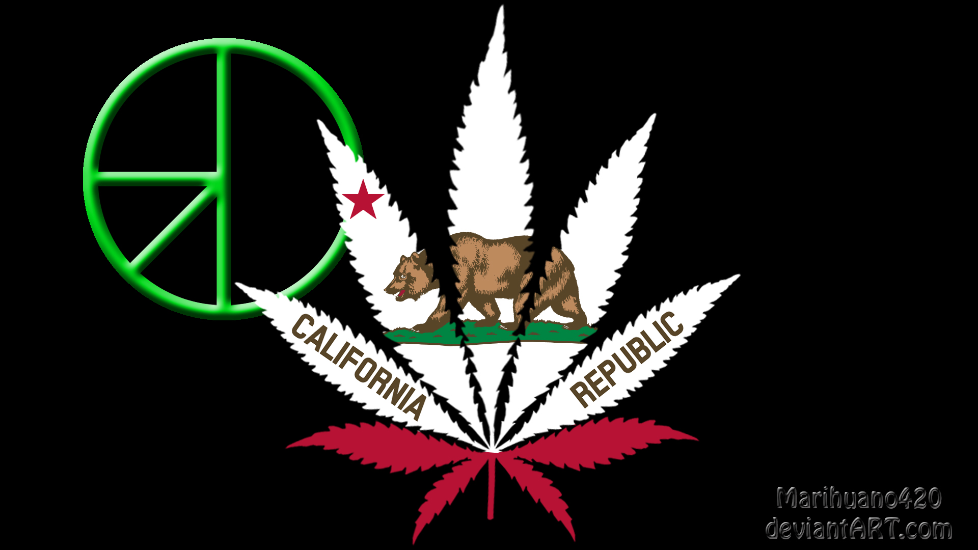 California Flag With 420 Symbol By Marihuano420