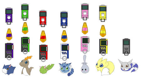 Digimon MB Digivices and In Training Digimon by coleroboman