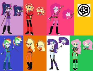 Equestria Ninja Girls Rainboom Ninja Outfits by coleroboman