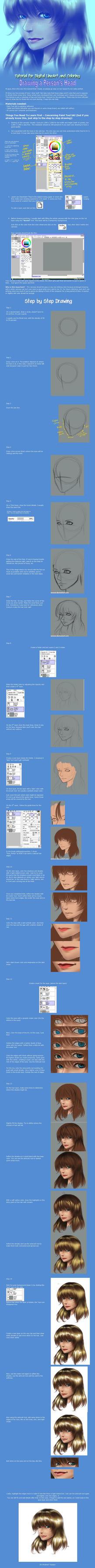 Drawing a Girl's Head - Tutorial - Paint Tool SAI by annaoi