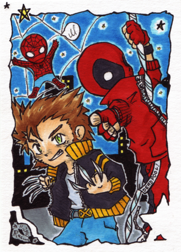 Spidey, Wolverine and Deadpool by Racuun