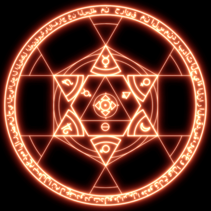 Magical hexagram of a fire glyph
