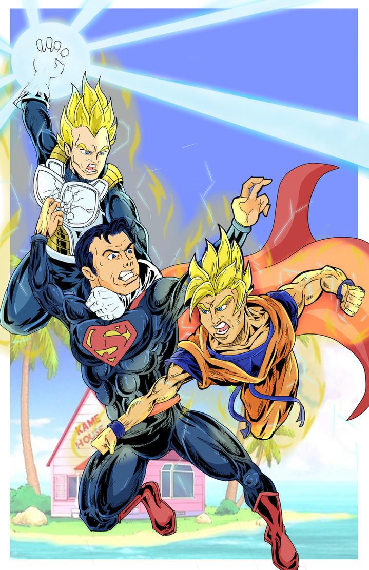 Goku Vegeta  Vs Superman by Zaatis