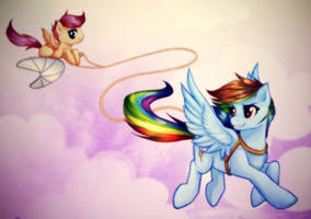 Rainbow Dash and Scootaloo by RizCifra