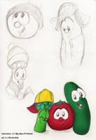 A tomato, a cuke, and a tree by KicsterAsh